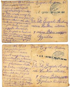 Tábori posta levél a családnak - Enyedi András 1945 júliusa