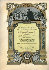 Református díszoklevél - 1927